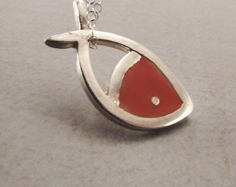 Fish Pendant Necklace Sterling Silver with Colored Resin Fashion Jewelry for Women