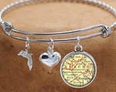 Gainesville Florida Map FL State Charm Bangle Bracelet Personalized Custom Vintage Map Jewelry Stainless Steel Bracelet