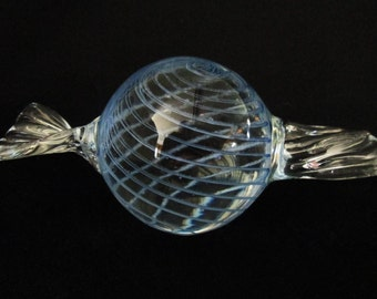 Vintage Blue Swirl Glass Paperweight Wrapped Candy Design