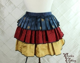 """10% OFF Ruffle Bustle Overskirt - 3 Layer, Sz. S - Red, Gold, and Blue with Stars - Best Fits up to 45"""" Waist/Upper Hip -- Ready to Ship"""