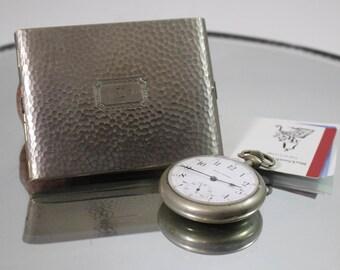 Vintage Evans Cigarette Business Card Case in Silver Tone