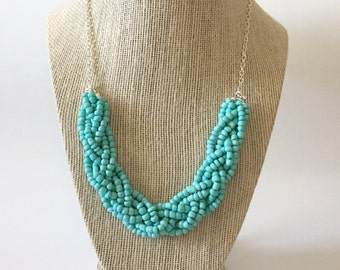 Aqua Blue Beaded Braid Necklace