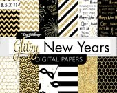 Digital Paper Pack- Glitter New Years -  Digital Scrapbook- USL 8.5 x 11 Paper size - Gold Glitter, black, white - Digital Paper set