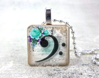 Victorian Music Bass Clef Necklace - Music Note Charm - Music Lover Jewelry - Victorian Musical Choir Orchestra Band Jewelry