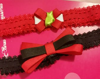 Red and Black headband set, headband set, two headbands, black and red headbands, little girls headband, headbands with bow, headbands