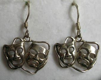 Vintage Sterling Silver Theatre Mask Earrings
