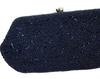 1950s Black Beaded Clutch
