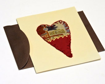 Valentine Heart Card, Vintage Crazy Quilt Love Note Card, Handmade Folk Art Stationery, Thank You,Wedding Baby Gift Greeting itsyourcountry