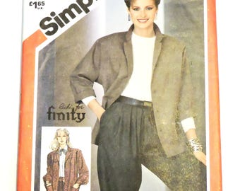 Simplicity 5640 Jacket Sewing Pattern, Vintage 1980s Misses Size 10 Losse Fitting Unlined Jacket, Ricki for Finity, Uncut  itsyourcountry