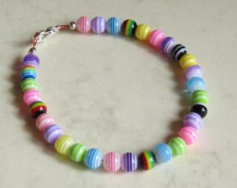 multi coloured striped bead bracelet