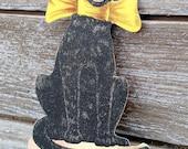 Reserved for Margaret Vintage Black Cat Hosiery Die Cut Advertising Display Placard