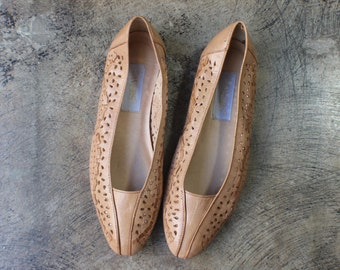 7 M / Nude Leather Flats / Perforated Leather Skimmers / Women Almond Shaped Toe Shoes