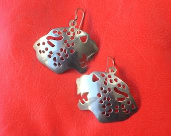 Sterling Leopard EARRINGS / Vintage Silver Feline JEWELRY / Light Weight Drop Earrings