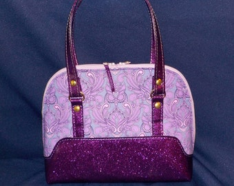 Purple Owls and Metallic Vinyl, Bowler Style Handbag, Handmade