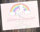 Unicorn Birthday Invitation- Digital