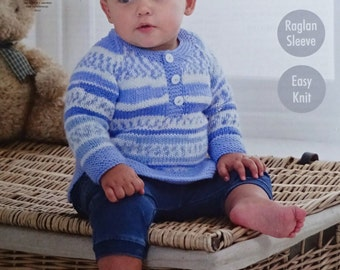 Baby Knitting Pattern K4808 Baby's Long Sleeve Button Neck Jumper Knitting Pattern DK (Light Worsted) King Cole