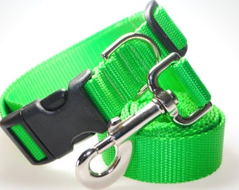 """Apple Green Collar and Leash Combination - 1"""" Width"""