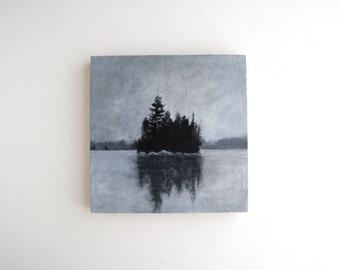 Adirondack Island Painting - 6 x 6