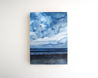 Beach Mixed Media Painting - 5 x 7