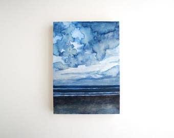 Beach Mixed Media Painting - 5 x 7