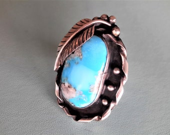 Turquoise and Sterling Silver Ring Navajo Native American Crafted Turquoise With Quartz and Pyrite Inclusion Size 7 1/4