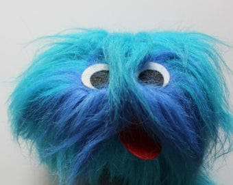 Vintage Great American Fun Blue Monster Marionette Puppet Stuffed Animal 1980s