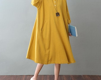 autumn Oversize women dress Loose maternity dress Long shirt dress In yellow/ white