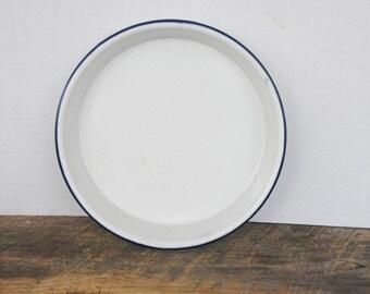 Vintage Enamelware Baking Cooking Pan White with Blue Rim