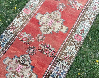 PINK ANATOLIA RUNNER,One Of A Kind Vintage Turkish Runner Rug,Antique  Decorative Trending