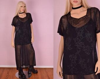 90s Black Mesh Rose Print Maxi Dress/ XXL/ 1990s/ Grunge/ Goth/ Floral/ Glitter