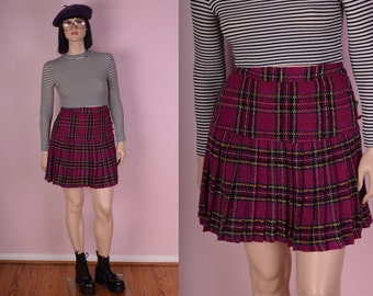 90s Plaid Tweed Pleated Skirt/ Large/ 1990s