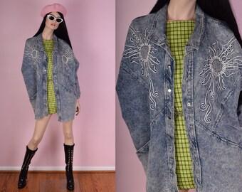 80s Acid Wash Floral Design Denim Jacket/ One Size/ 1980s/ Studded/ Stone Wash/ Jean/ Jacket