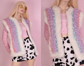 80s Shaggy Pastel Chunky Knit Sweater Vest/ Medium/ 1980s