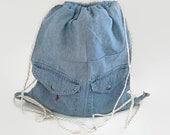 Denim with Two Front Pockets Upcycled Drawstring Backpack, Cinch Sack, Hipster Back Pack