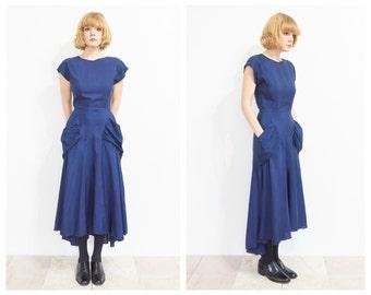 80s Blue Bias Cut Evening Dress w/ Pockets