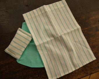 dollhouse miniature. Bed linen for single bed. green and white striped