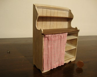 dollhouse miniature country shabby chic white. with shelves in natural wood. in Tuscan style.