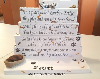 Dog Memorial poem display with dog bed BRIDGE TO A RAINBOW by GR8BYZ