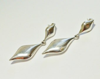 Vintage Sterling Silver Signed Puffy Style Door Knocker Dangle Pierced Earrings