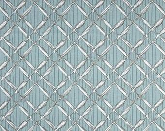 One 18 x 50  Custom  Curtain  Valance with Rod Pocket -   Lattice Spa Blue