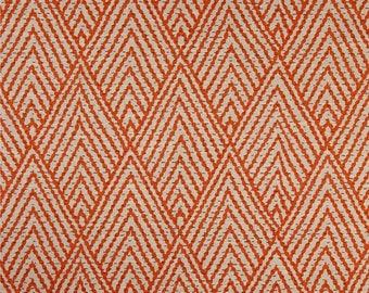 "Two 96"" x 50""  Custom Curtain Panels  -  Lacefield Tahitian Stitch Tangerine Orange Zig Zag"