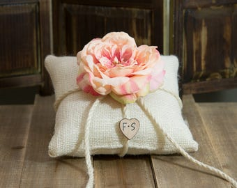 Burlap ring bearer pillow decorated with a salmon pink sophia rose personalized with bride and groom initials other flowers to select from