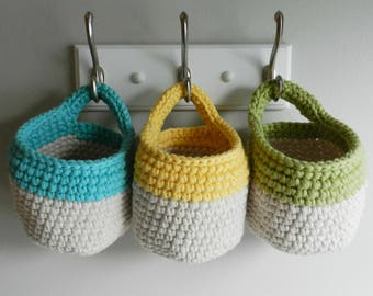 3 Hanging Crocheted Baskets (yellow, blue, green) (MADE TO ORDER)