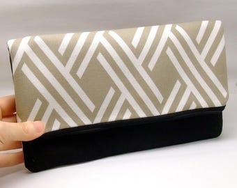 Foldover zipper clutch, zipper pouch, wedding purse, evening clutch, bridesmaid gifts set - Cross pattern (Ref. FZ16)