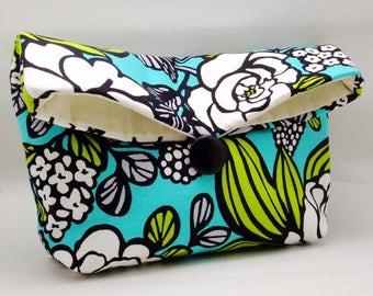 Foldover clutch, Fold over bag, clutch purse, evening clutch, wedding purse, bridesmaid gifts - Foral pattern (Ref. FC73 )