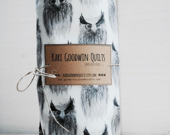 Organic Baby Bedding, Crib Sheet, Changing Pad Cover - Grey Screech Owl