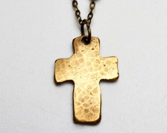 Bronze Clay Small Cross Pendant Necklace