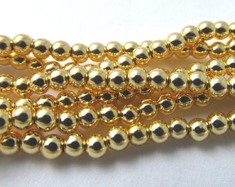 250 Vintage 3mm Gold-Plated Plastic Beads Bd1919