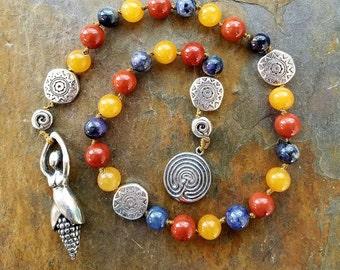 Lughnasadh The Blue Corn Maiden, Pagan Prayer Beads, Meditation Beads, Witches Ladder, Wiccan Prayer Beads, First Harvest Prayer Strand