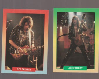 Lot of 2 trading cards featuring guitarist Ace Frehley